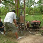 Seting up a new well by the riverhouse.